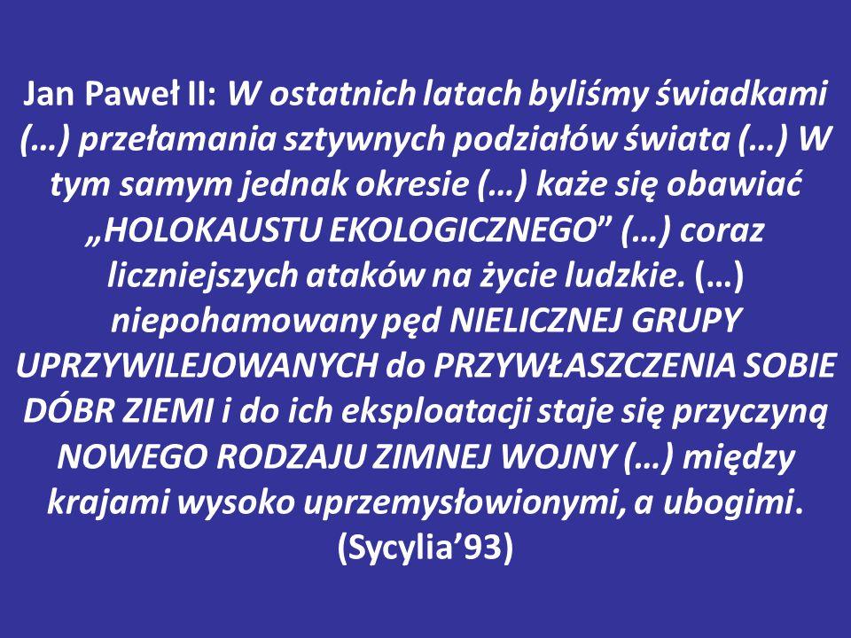 """Jan Paweł II: W ostatnich latach byliśmy świadkami (…) przełamania sztywnych podziałów świata (…) W tym samym jednak okresie (…) każe się obawiać """"HOL"""