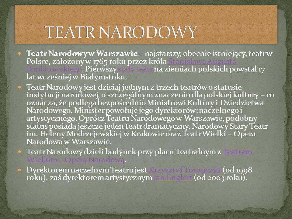 Teatr Narodowy w Warszawie – najstarszy, obecnie istniejący, teatr w Polsce, założony w 1765 roku przez króla Stanisława Augusta Poniatowskiego.
