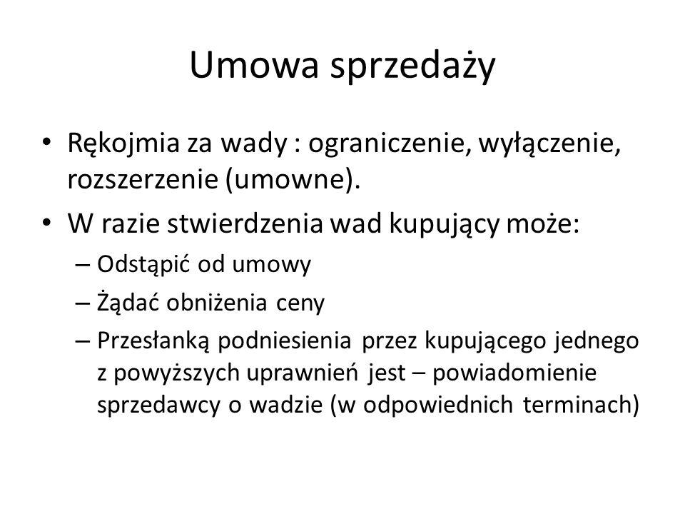 Umowa sprzedaży Gwarancja jakości (art.