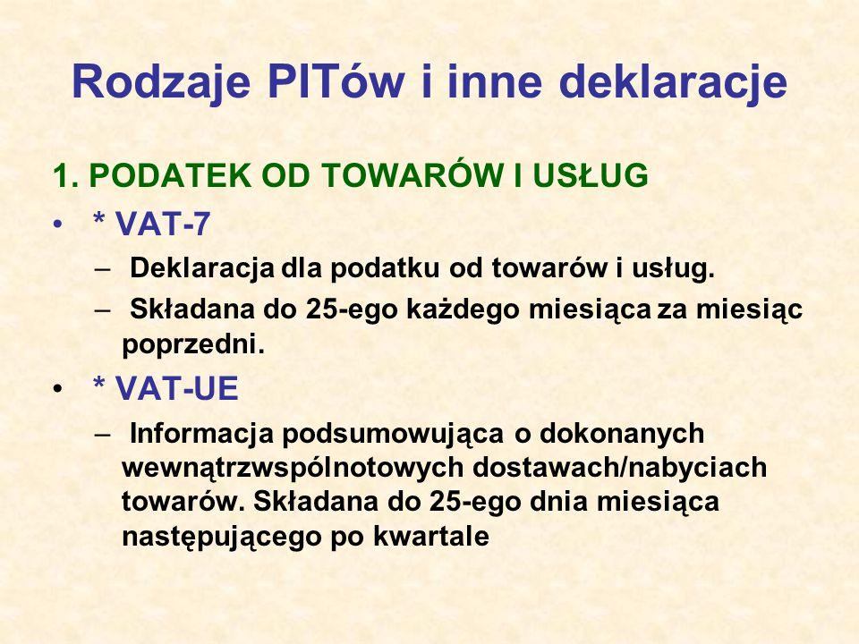 Rodzaje PITów i inne deklaracje 1. PODATEK OD TOWARÓW I USŁUG * VAT-7 – Deklaracja dla podatku od towarów i usług. – Składana do 25-ego każdego miesią