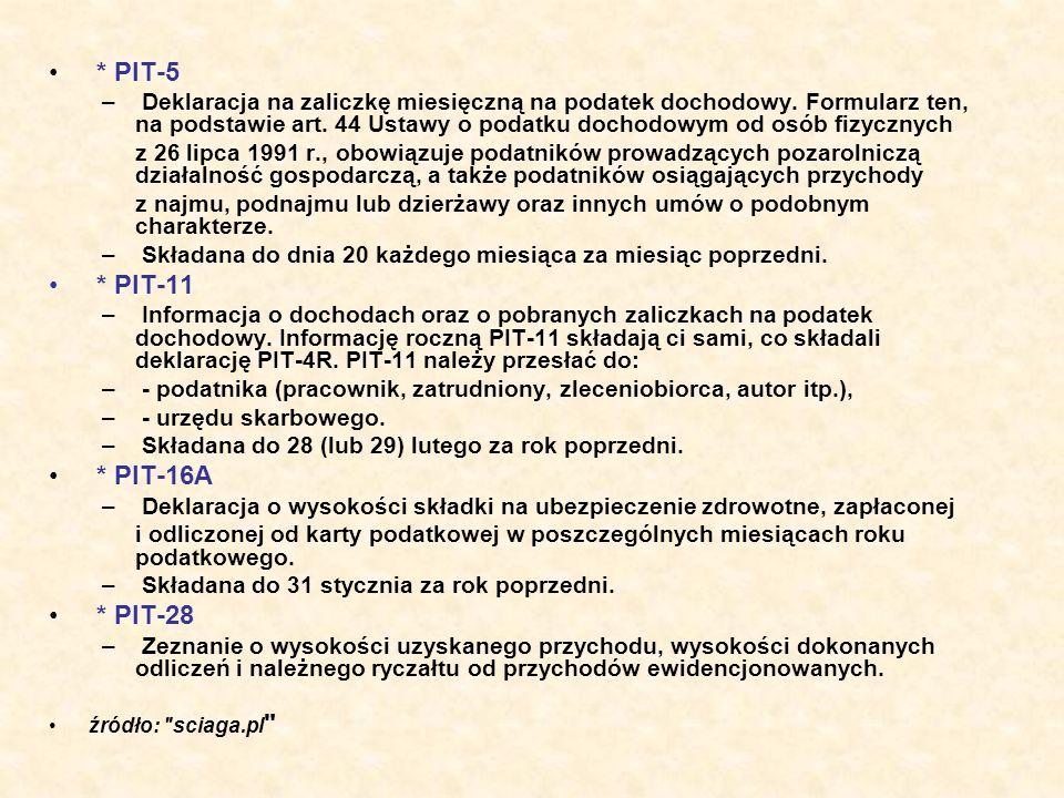 * PIT-5 – Deklaracja na zaliczkę miesięczną na podatek dochodowy. Formularz ten, na podstawie art. 44 Ustawy o podatku dochodowym od osób fizycznych z