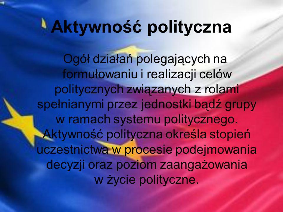 Aktywność polityczna Ogół działań polegających na formułowaniu i realizacji celów politycznych związanych z rolami spełnianymi przez jednostki bądź gr