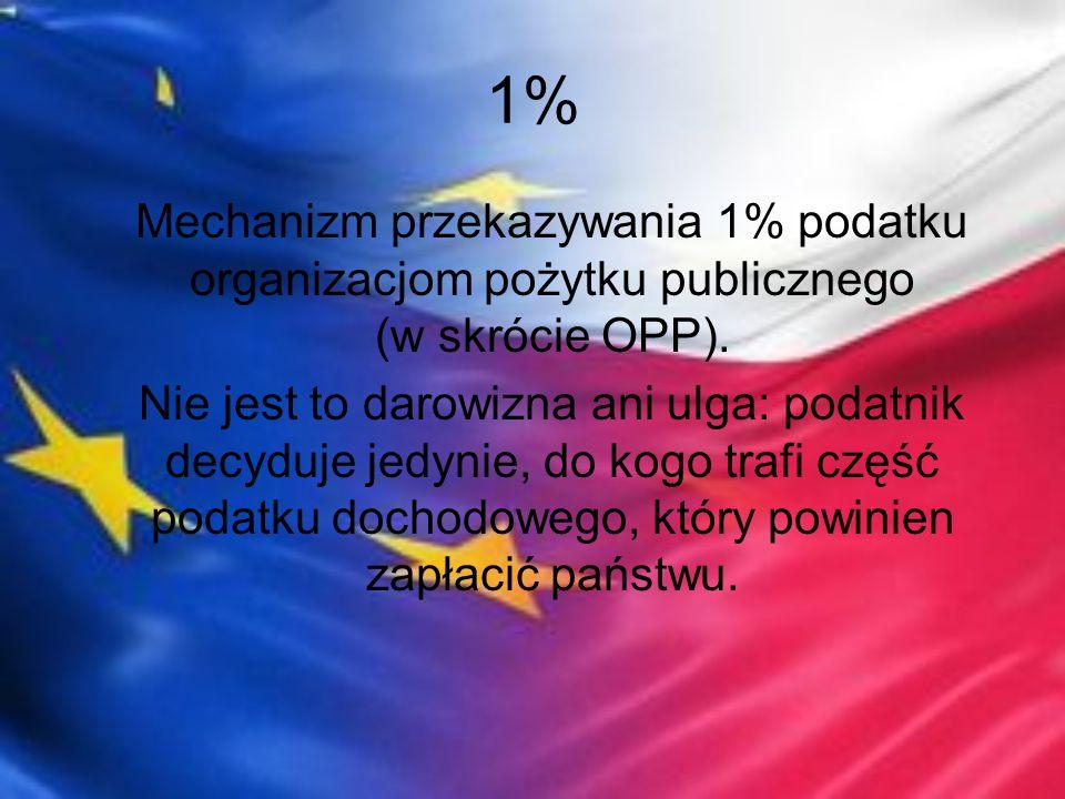 1% Mechanizm przekazywania 1% podatku organizacjom pożytku publicznego (w skrócie OPP). Nie jest to darowizna ani ulga: podatnik decyduje jedynie, do