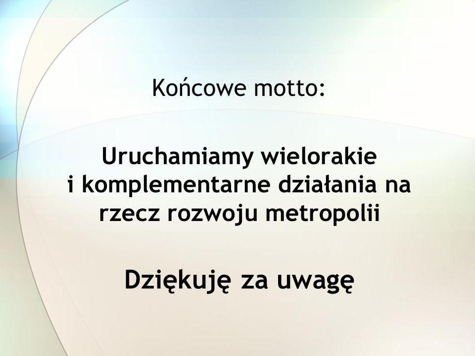 Dziękuję za uwagę Końcowe motto: Uruchamiamy wielorakie i komplementarne działania na rzecz rozwoju metropolii