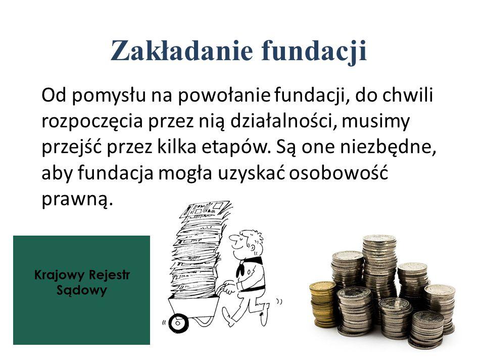Zakładanie fundacji Od pomysłu na powołanie fundacji, do chwili rozpoczęcia przez nią działalności, musimy przejść przez kilka etapów.