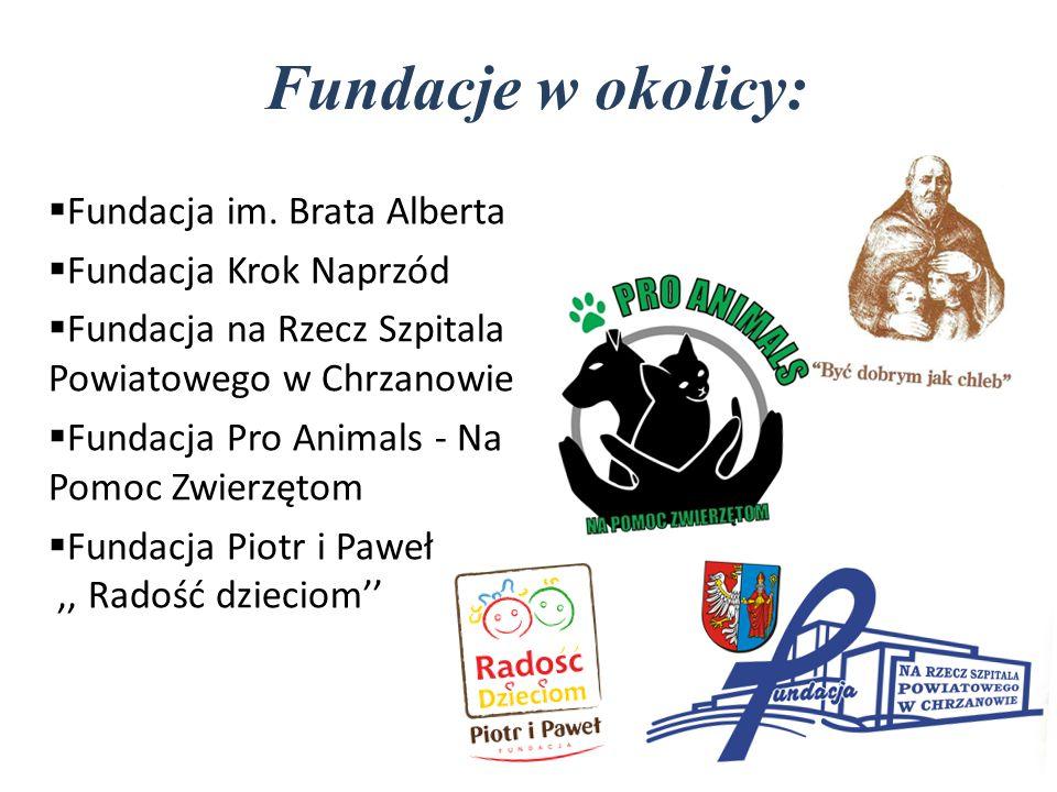 Fundacje w okolicy:  Fundacja im. Brata Alberta  Fundacja Krok Naprzód  Fundacja na Rzecz Szpitala Powiatowego w Chrzanowie  Fundacja Pro Animals