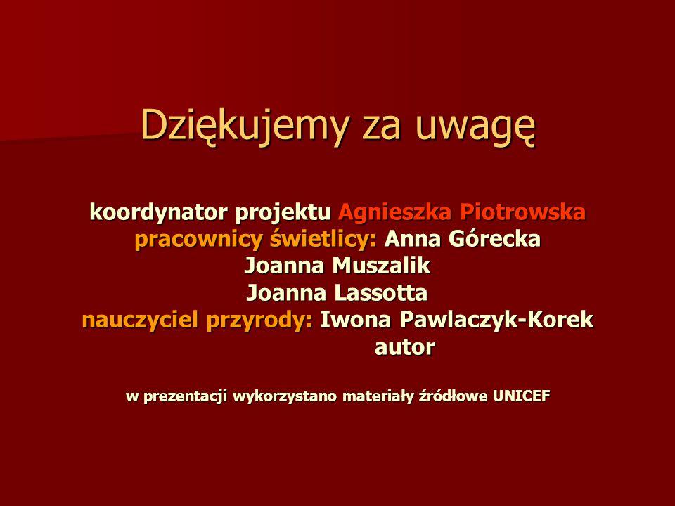 Dziękujemy za uwagę koordynator projektu Agnieszka Piotrowska pracownicy świetlicy: Anna Górecka Joanna Muszalik Joanna Lassotta nauczyciel przyrody: