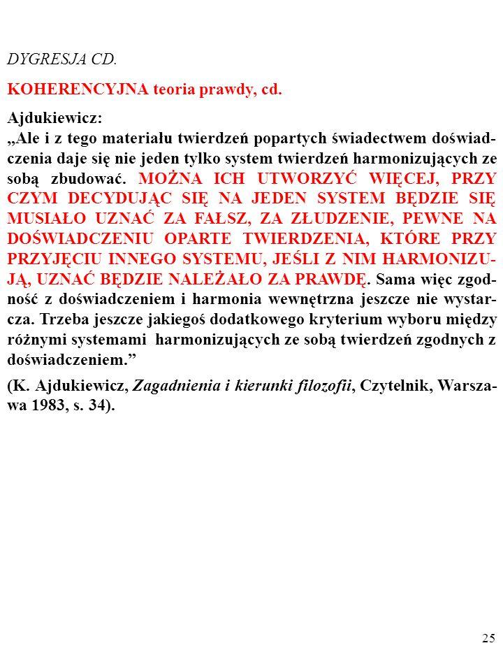 """24 DYGRESJA CD. KOHERENCYJNA teoria prawdy, cd. Ajdukiewicz: """"[K]oherencyjna teoria prawdy definiuje prawdę jako zgodność myśli między sobą. (…) [K]ry"""