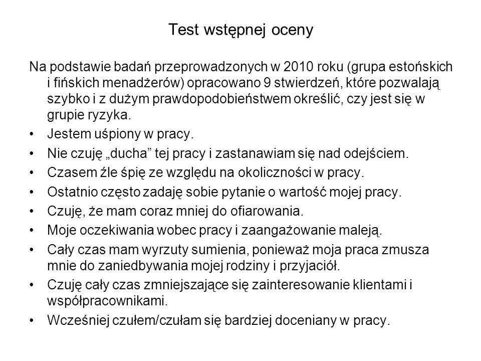 Test wstępnej oceny Na podstawie badań przeprowadzonych w 2010 roku (grupa estońskich i fińskich menadżerów) opracowano 9 stwierdzeń, które pozwalają