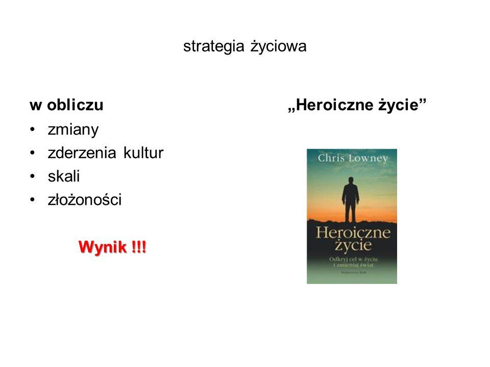 """strategia życiowa w obliczu zmiany zderzenia kultur skali złożoności Wynik !!! """"Heroiczne życie"""""""