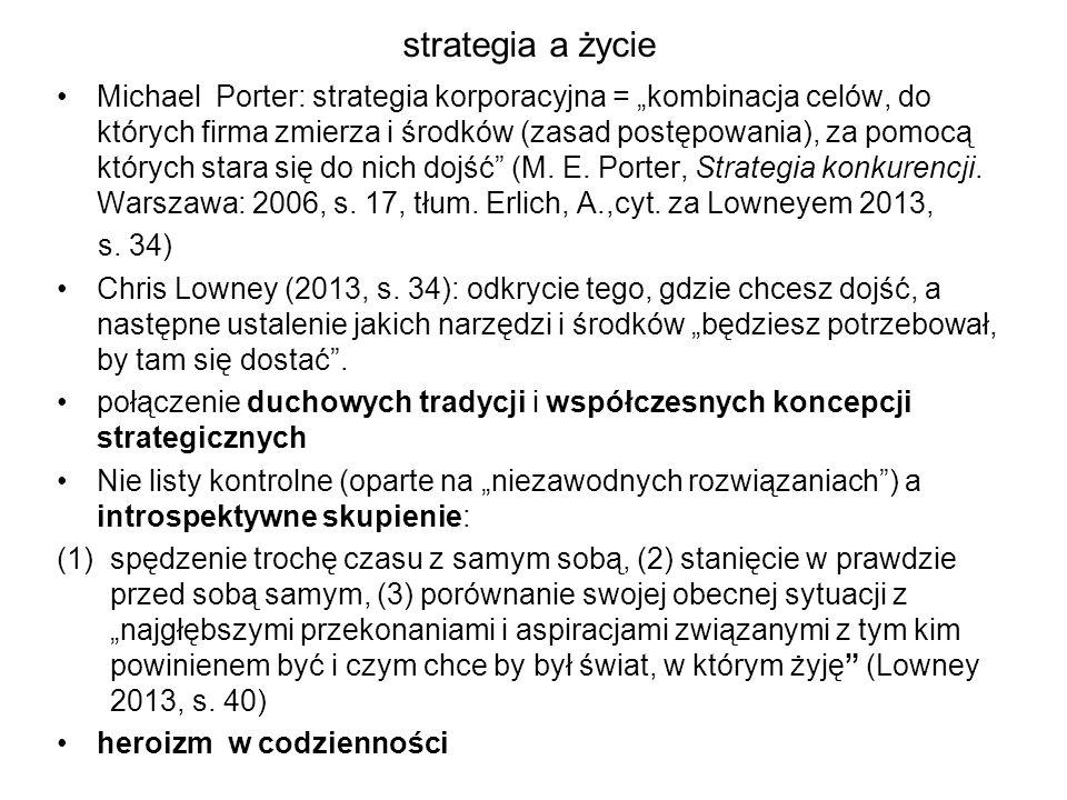 """strategia a życie Michael Porter: strategia korporacyjna = """"kombinacja celów, do których firma zmierza i środków (zasad postępowania), za pomocą który"""