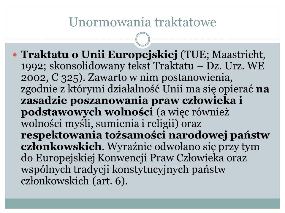 Unormowania traktatowe Traktatu o Unii Europejskiej (TUE; Maastricht, 1992; skonsolidowany tekst Traktatu – Dz. Urz. WE 2002, C 325). Zawarto w nim po