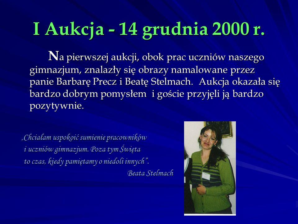 I Aukcja - 14 grudnia 2000 r. N a pierwszej aukcji, obok prac uczniów naszego gimnazjum, znalazły się obrazy namalowane przez panie Barbarę Precz i Be