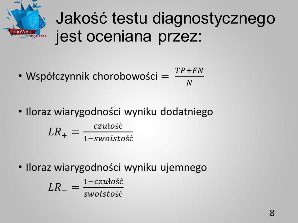 Jakość testu diagnostycznego jest oceniana przez: 8