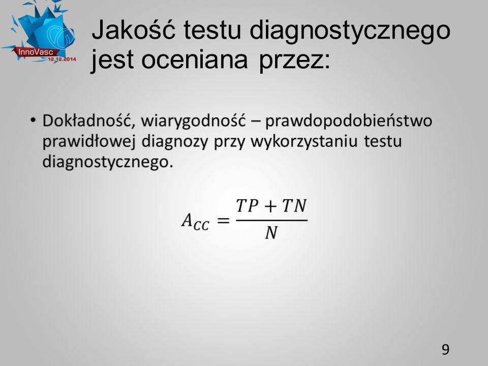 Jakość testu diagnostycznego jest oceniana przez: 9