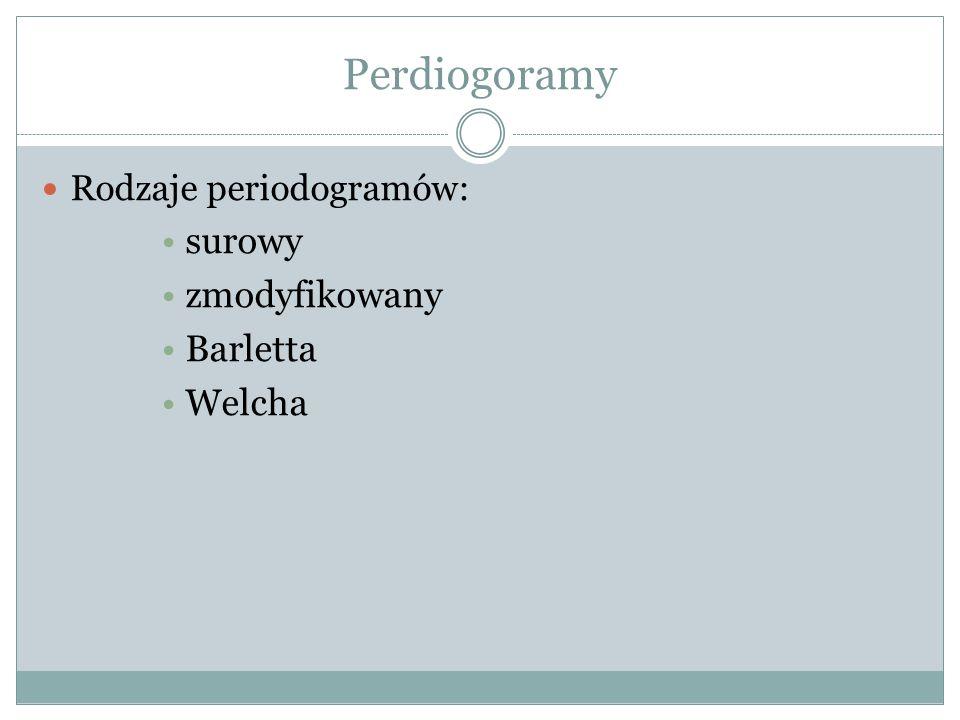 Perdiogoramy Rodzaje periodogramów: surowy zmodyfikowany Barletta Welcha