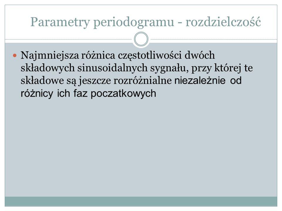 Parametry periodogramu - rozdzielczość Najmniejsza różnica częstotliwości dwóch składowych sinusoidalnych sygnału, przy której te składowe są jeszcze