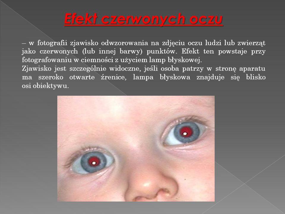 Efekt czerwonych oczu – w fotografii zjawisko odwzorowania na zdjęciu oczu ludzi lub zwierząt jako czerwonych (lub innej barwy) punktów. Efekt ten pow