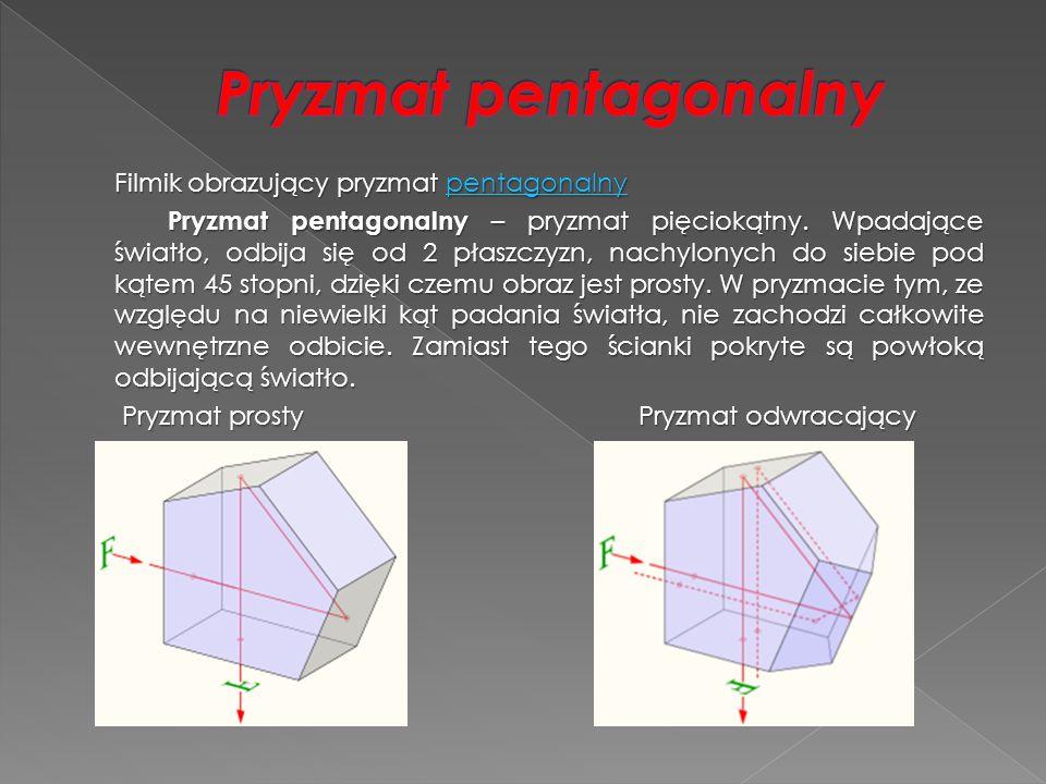 Filmik obrazujący pryzmat pentagonalny pentagonalny Pryzmat pentagonalny – pryzmat pięciokątny. Wpadające światło, odbija się od 2 płaszczyzn, nachylo