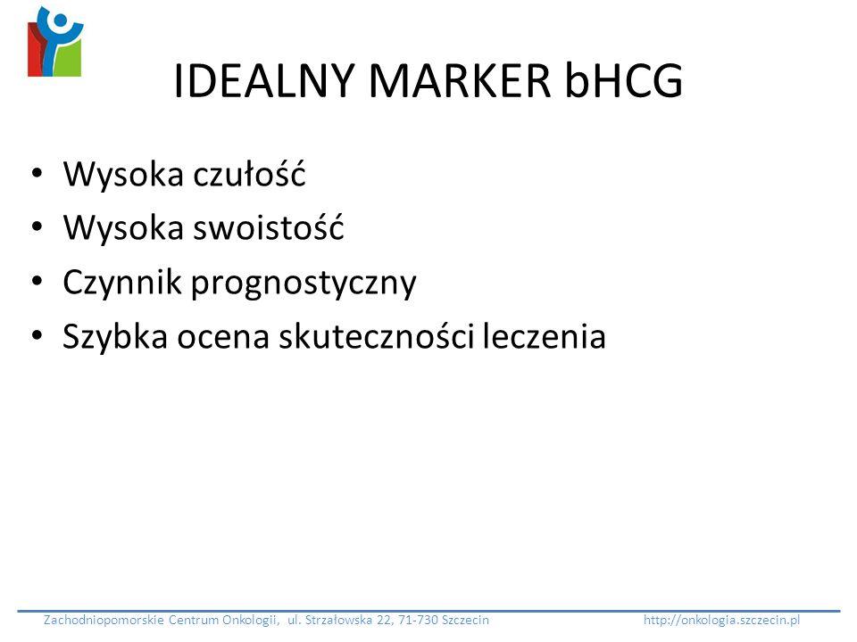 IDEALNY MARKER bHCG Wysoka czułość Wysoka swoistość Czynnik prognostyczny Szybka ocena skuteczności leczenia Zachodniopomorskie Centrum Onkologii, ul.