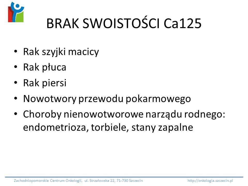 BRAK SWOISTOŚCI Ca125 Rak szyjki macicy Rak płuca Rak piersi Nowotwory przewodu pokarmowego Choroby nienowotworowe narządu rodnego: endometrioza, torb