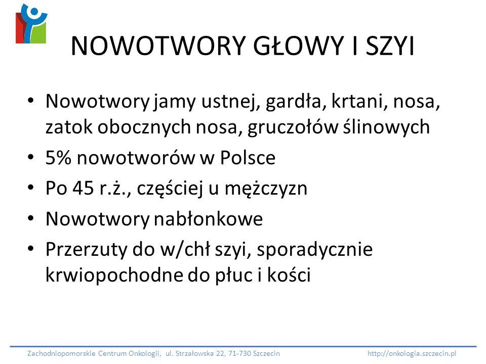 NOWOTWORY GŁOWY I SZYI Nowotwory jamy ustnej, gardła, krtani, nosa, zatok obocznych nosa, gruczołów ślinowych 5% nowotworów w Polsce Po 45 r.ż., częśc