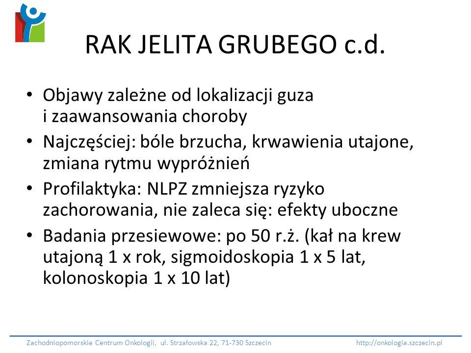 RAK JELITA GRUBEGO c.d. Objawy zależne od lokalizacji guza i zaawansowania choroby Najczęściej: bóle brzucha, krwawienia utajone, zmiana rytmu wypróżn