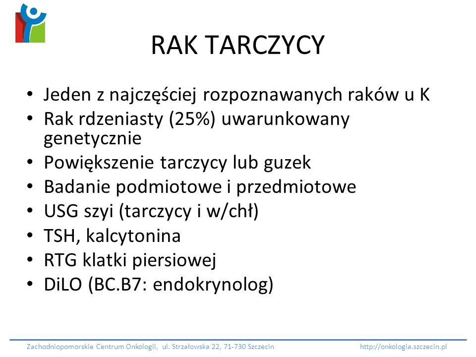 RAK TARCZYCY Jeden z najczęściej rozpoznawanych raków u K Rak rdzeniasty (25%) uwarunkowany genetycznie Powiększenie tarczycy lub guzek Badanie podmio