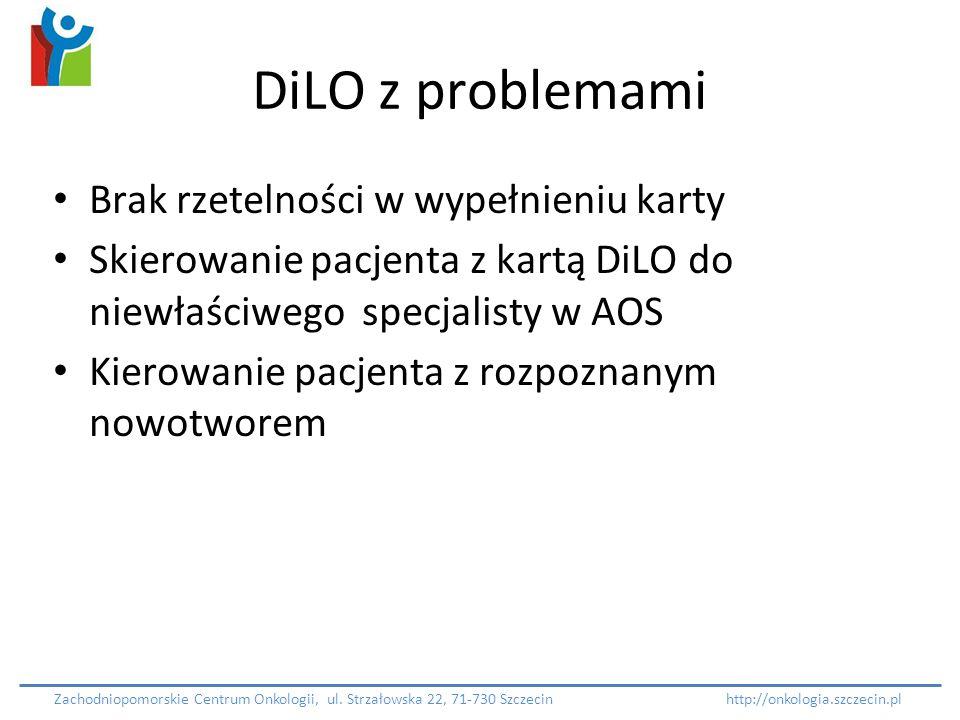 DiLO z problemami Brak rzetelności w wypełnieniu karty Skierowanie pacjenta z kartą DiLO do niewłaściwego specjalisty w AOS Kierowanie pacjenta z rozp