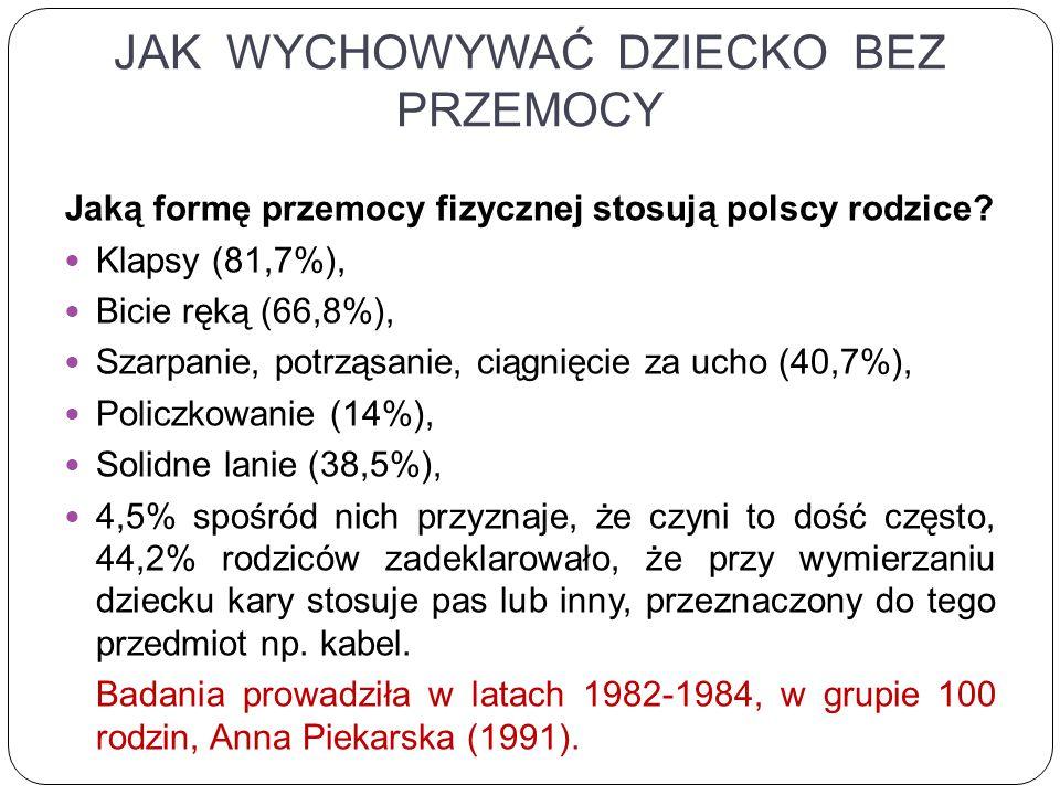 JAK WYCHOWYWAĆ DZIECKO BEZ PRZEMOCY Jaką formę przemocy fizycznej stosują polscy rodzice.