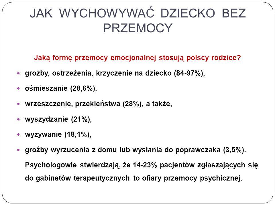 JAK WYCHOWYWAĆ DZIECKO BEZ PRZEMOCY Jaką formę przemocy emocjonalnej stosują polscy rodzice.