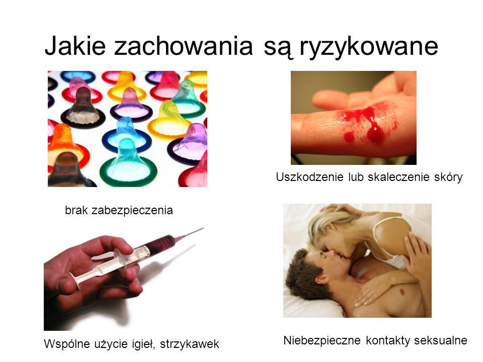 Jakie zachowania są ryzykowane brak zabezpieczenia Uszkodzenie lub skaleczenie skóry Wspólne użycie igieł, strzykawek Niebezpieczne kontakty seksualne