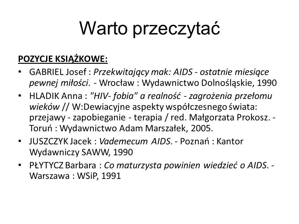 Warto przeczytać POZYCJE KSIĄŻKOWE: GABRIEL Josef : Przekwitający mak: AIDS - ostatnie miesiące pewnej miłości. - Wrocław : Wydawnictwo Dolnośląskie,