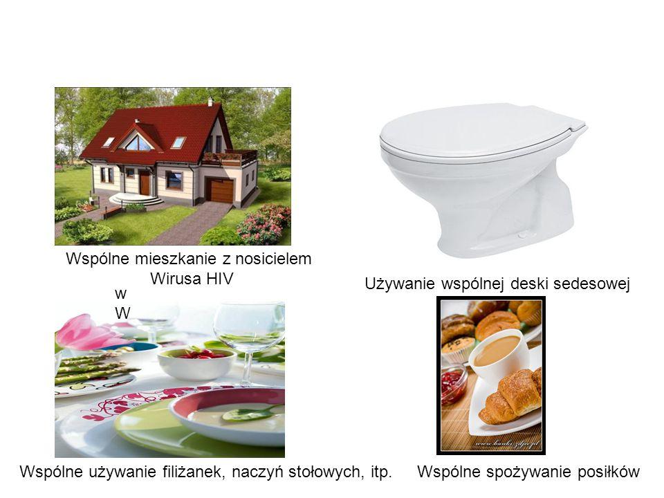 wWwW Wspólne mieszkanie z nosicielem Wirusa HIV Używanie wspólnej deski sedesowej Wspólne używanie filiżanek, naczyń stołowych, itp.Wspólne spożywanie