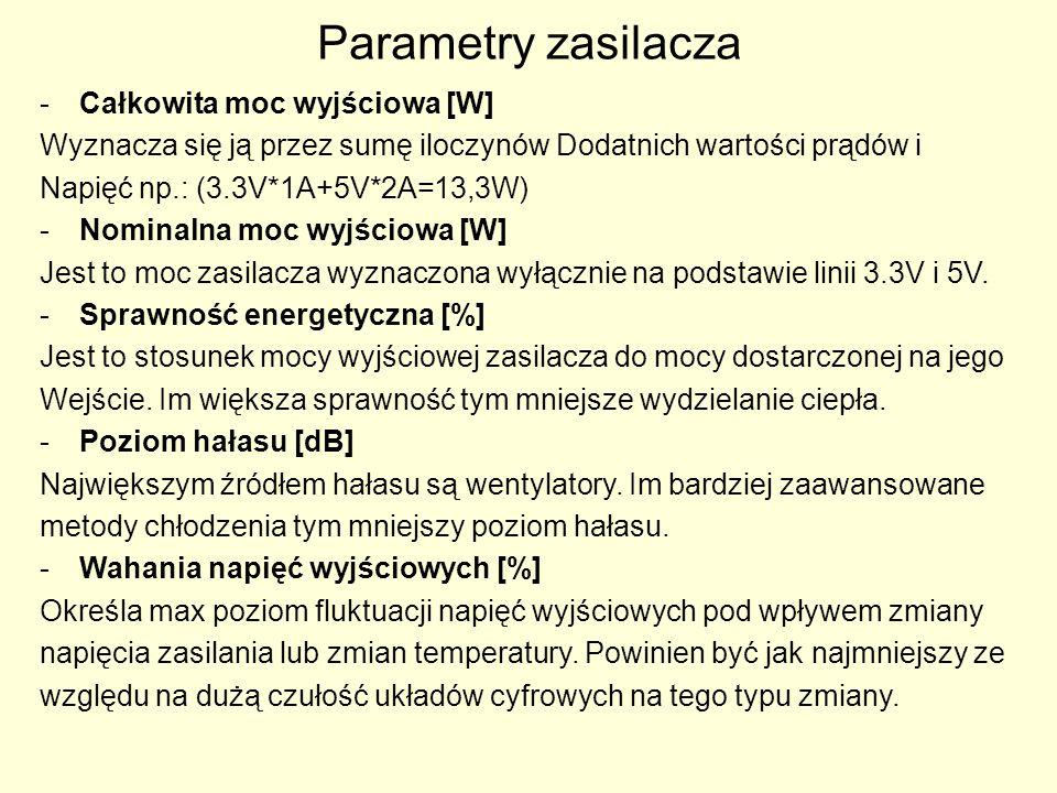 Parametry zasilacza -Całkowita moc wyjściowa [W] Wyznacza się ją przez sumę iloczynów Dodatnich wartości prądów i Napięć np.: (3.3V*1A+5V*2A=13,3W) -N