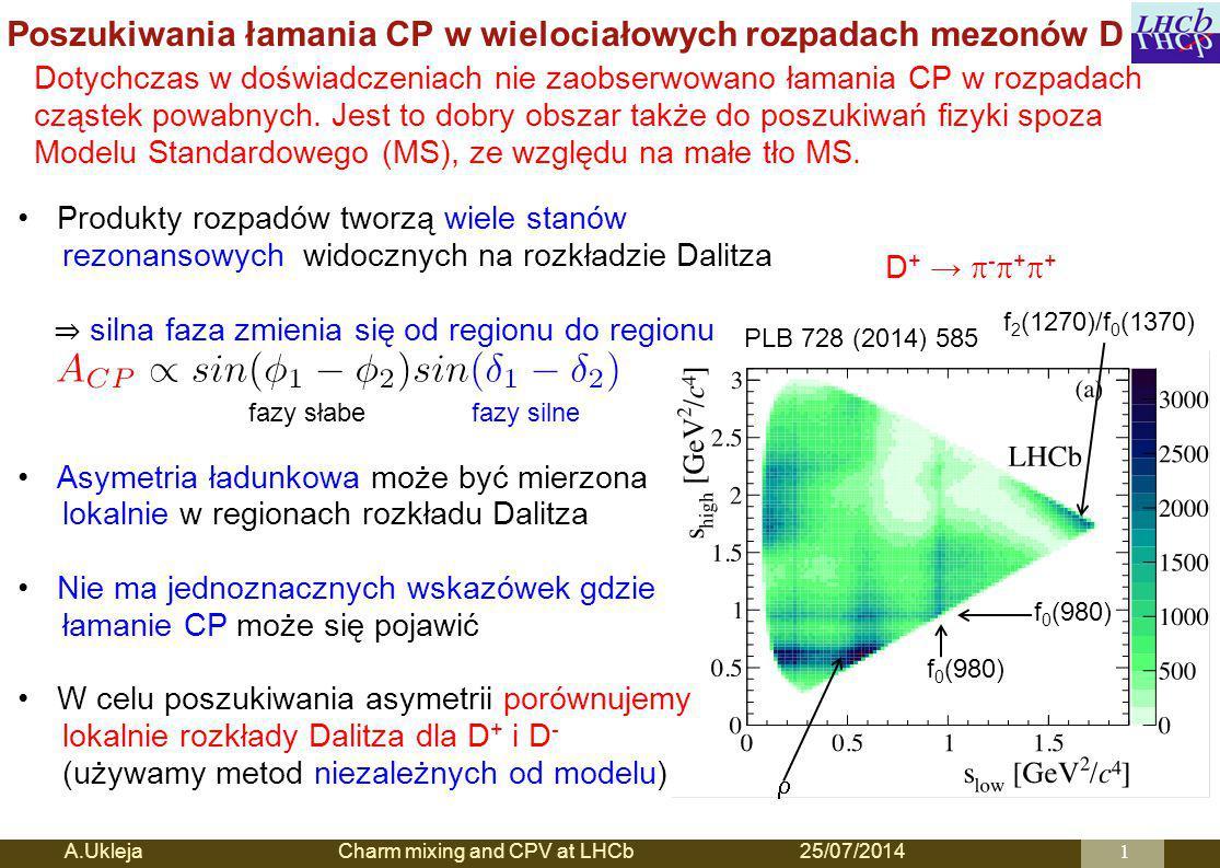 Poszukiwania łamania CP w wielociałowych rozpadach mezonów D A.Ukleja Charm mixing and CPV at LHCb25/07/20141 PLB 728 (2014) 585 f 0 (980)  f 2 (1270)/f 0 (1370) D + →  -  +  + fazy słabefazy silne Produkty rozpadów tworzą wiele stanów rezonansowych widocznych na rozkładzie Dalitza ⇒ silna faza zmienia się od regionu do regionu Asymetria ładunkowa może być mierzona lokalnie w regionach rozkładu Dalitza Nie ma jednoznacznych wskazówek gdzie łamanie CP może się pojawić W celu poszukiwania asymetrii porównujemy lokalnie rozkłady Dalitza dla D + i D - (używamy metod niezależnych od modelu) Dotychczas w doświadczeniach nie zaobserwowano łamania CP w rozpadach cząstek powabnych.