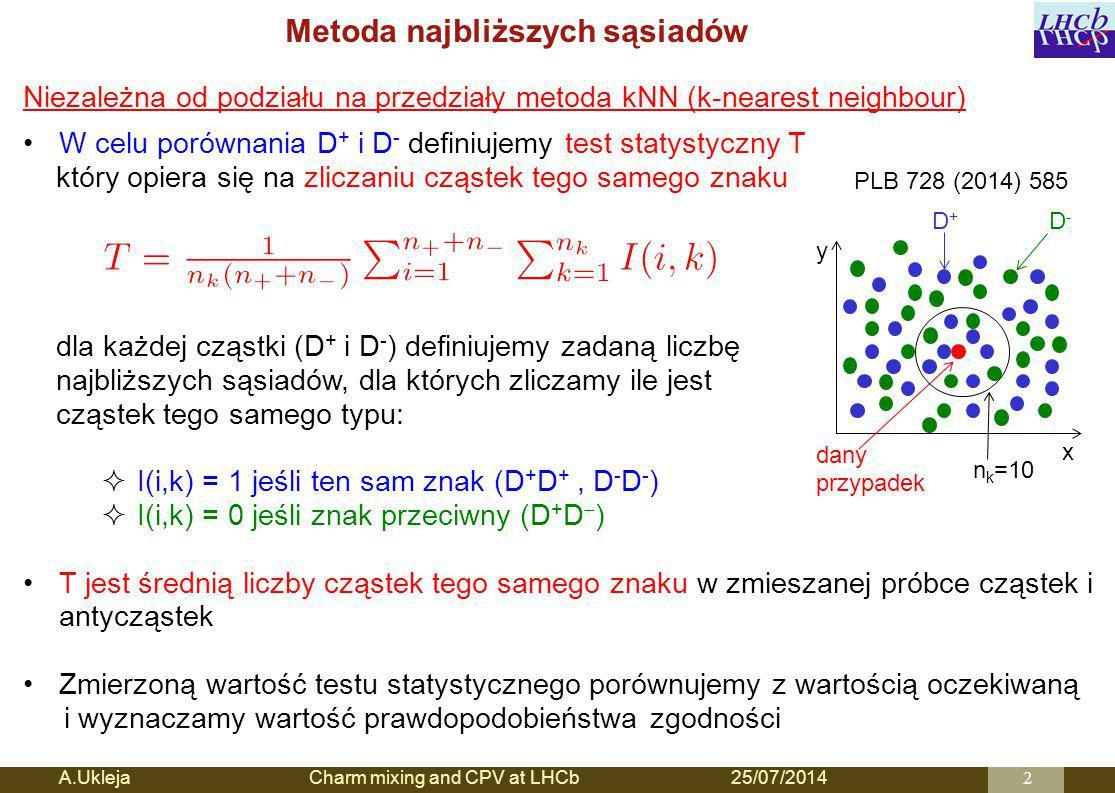 Metoda najbliższych sąsiadów A.Ukleja Charm mixing and CPV at LHCb25/07/20142 x y D-D- D+D+ dany przypadek n k =10 Niezależna od podziału na przedziały metoda kNN (k-nearest neighbour) W celu porównania D + i D - definiujemy test statystyczny T który opiera się na zliczaniu cząstek tego samego znaku dla każdej cząstki (D + i D - ) definiujemy zadaną liczbę najbliższych sąsiadów, dla których zliczamy ile jest cząstek tego samego typu:  I(i,k) = 1 jeśli ten sam znak (D + D +, D - D - )  I(i,k) = 0 jeśli znak przeciwny (D + D  ) T jest średnią liczby cząstek tego samego znaku w zmieszanej próbce cząstek i antycząstek Zmierzoną wartość testu statystycznego porównujemy z wartością oczekiwaną i wyznaczamy wartość prawdopodobieństwa zgodności PLB 728 (2014) 585