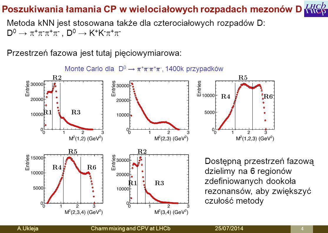 Poszukiwania łamania CP w wielociałowych rozpadach mezonów D A.Ukleja Charm mixing and CPV at LHCb25/07/20144 Metoda kNN jest stosowana także dla czterociałowych rozpadów D: D 0 →  +  -  +  -, D 0 → K + K -  +  - Przestrzeń fazowa jest tutaj pięciowymiarowa: Monte Carlo dla D 0 →  +  -  +  -, 1400k przypadków Dostępną przestrzeń fazową dzielimy na 6 regionów zdefiniowanych dookoła rezonansów, aby zwiększyć czułość metody