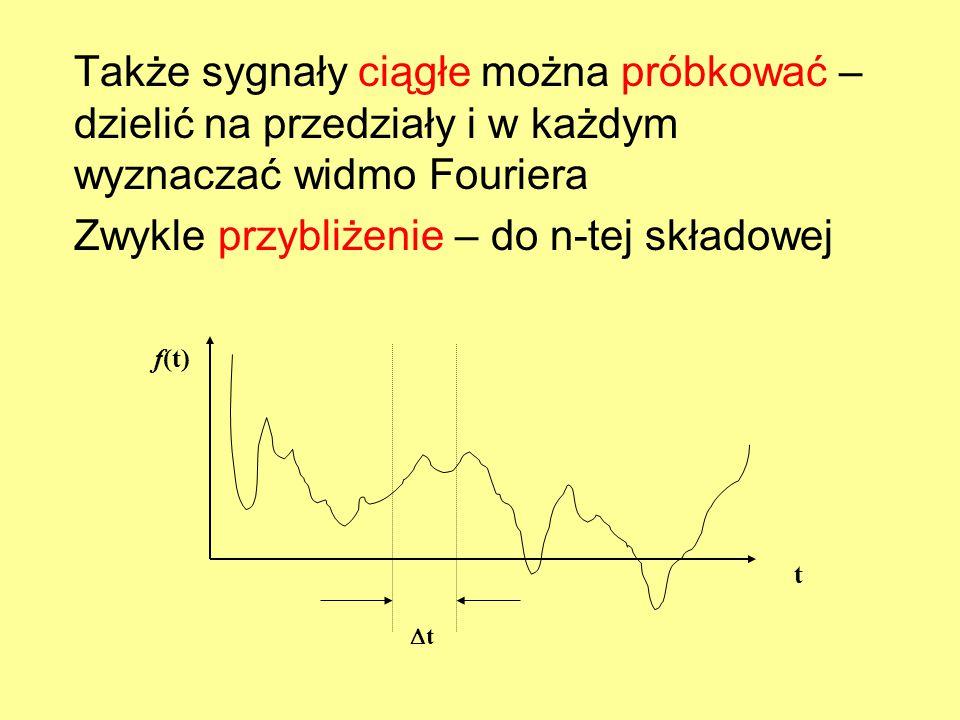 Także sygnały ciągłe można próbkować – dzielić na przedziały i w każdym wyznaczać widmo Fouriera Zwykle przybliżenie – do n-tej składowej f(t) t tt