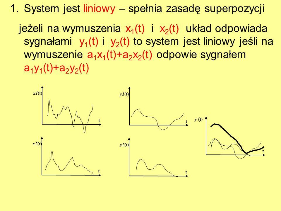 1.System jest liniowy – spełnia zasadę superpozycji jeżeli na wymuszenia x 1 (t) i x 2 (t) układ odpowiada sygnałami y 1 (t) i y 2 (t) to system jest