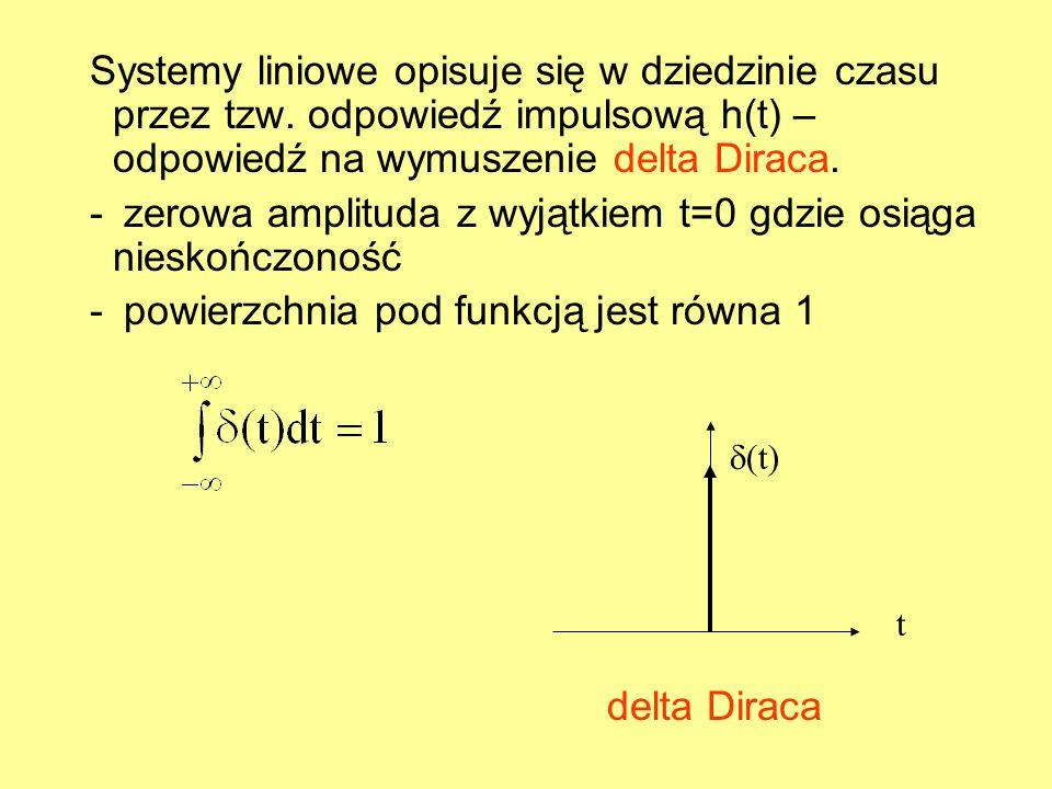 Systemy liniowe opisuje się w dziedzinie czasu przez tzw. odpowiedź impulsową h(t) – odpowiedź na wymuszenie delta Diraca. - zerowa amplituda z wyjątk