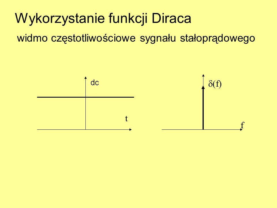 Wykorzystanie funkcji Diraca widmo częstotliwościowe sygnału stałoprądowego  (f) f t dc