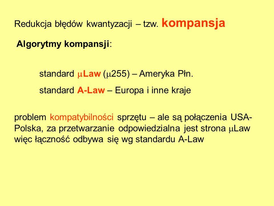 Redukcja błędów kwantyzacji – tzw. kompansja Algorytmy kompansji: standard  Law (  255) – Ameryka Płn. standard A-Law – Europa i inne kraje problem