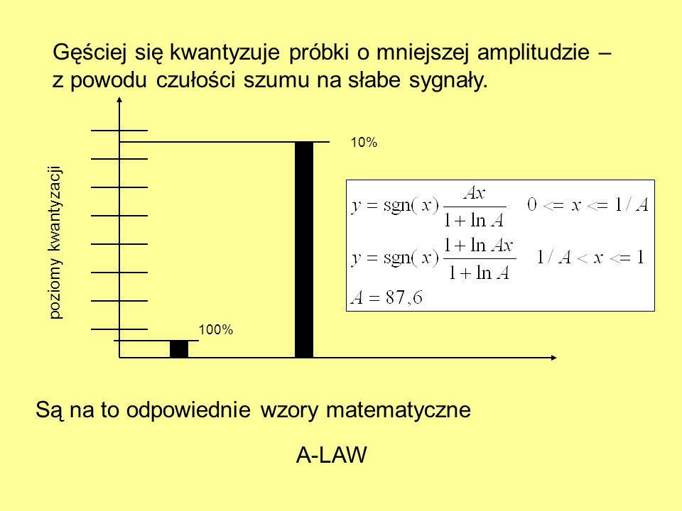 Gęściej się kwantyzuje próbki o mniejszej amplitudzie – z powodu czułości szumu na słabe sygnały. Są na to odpowiednie wzory matematyczne 100% 10% A-L