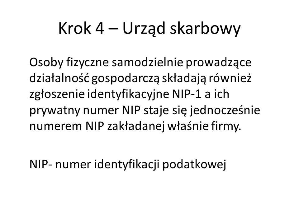 Krok 4 – Urząd skarbowy Osoby fizyczne samodzielnie prowadzące działalność gospodarczą składają również zgłoszenie identyfikacyjne NIP-1 a ich prywatny numer NIP staje się jednocześnie numerem NIP zakładanej właśnie firmy.
