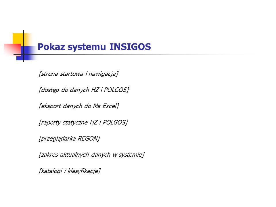 Pokaz systemu INSIGOS [strona startowa i nawigacja] [dostęp do danych HZ i POLGOS] [eksport danych do Ms Excel] [raporty statyczne HZ i POLGOS] [przeg