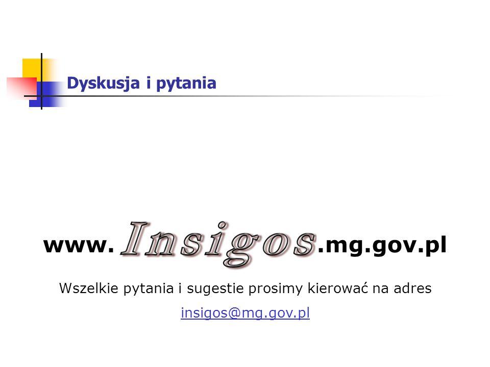 Dyskusja i pytania Wszelkie pytania i sugestie prosimy kierować na adres insigos@mg.gov.pl www..mg.gov.pl