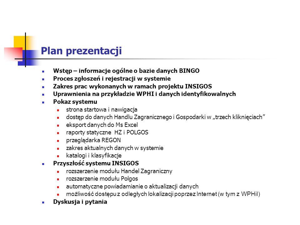 Plan prezentacji Wstęp – informacje ogólne o bazie danych BINGO Proces zgłoszeń i rejestracji w systemie Zakres prac wykonanych w ramach projektu INSI