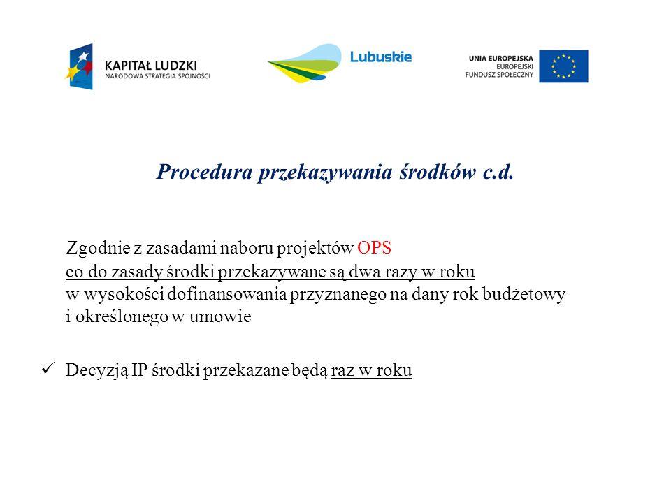 Procedura przekazywania środków c.d. Zgodnie z zasadami naboru projektów OPS co do zasady środki przekazywane są dwa razy w roku w wysokości dofinanso