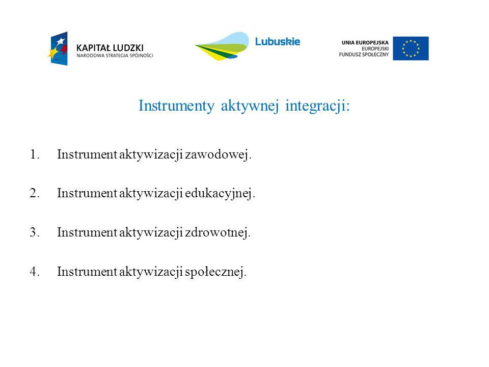 Instrumenty aktywnej integracji: 1.Instrument aktywizacji zawodowej. 2.Instrument aktywizacji edukacyjnej. 3.Instrument aktywizacji zdrowotnej. 4.Inst